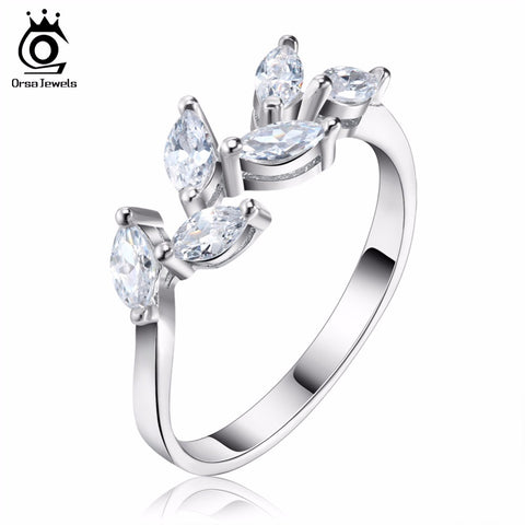 ORSA JEWELS Leaf Silver Female Rings with Sparkling Cubic Zirconia 2017 New Fashion Wedding Bands Ring for Women - CheckaBaby