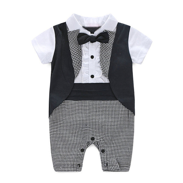 CHAMSGEND Baby Boy  Christening,  Wedding or Chirstmas  - Tuxedo Waistcoat Bow Tie Suit - CheckaBaby