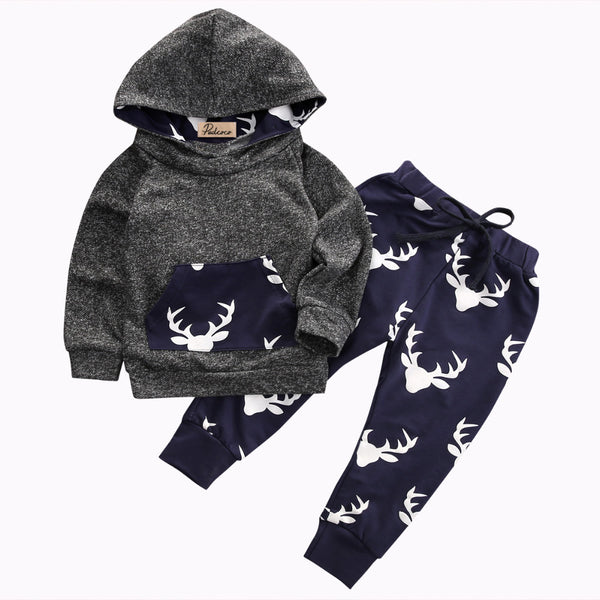 Autumn & Winter Newborn Toddler Baby Boys Hoodie Deer Long Sleeve T-shirt Top+Pants Leggings 2pcs Outfits Set - CheckaBaby