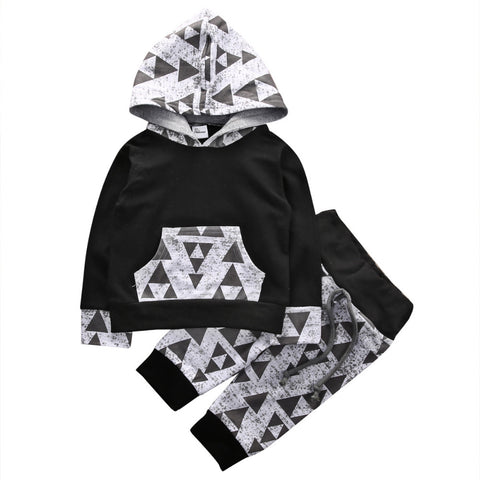 2pcs Autumn Spring triangle set Newborn  Baby Boys Outfits Clothes Hoodies sweatshirts Tops+Pants Set - CheckaBaby
