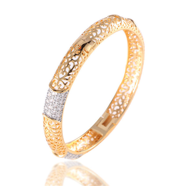 MOLIAM  New Fashion Hollow Bangles for Women Gold-Color AAA Cubic Zirconia Crystal Bracelets Jewelry - CheckaBaby