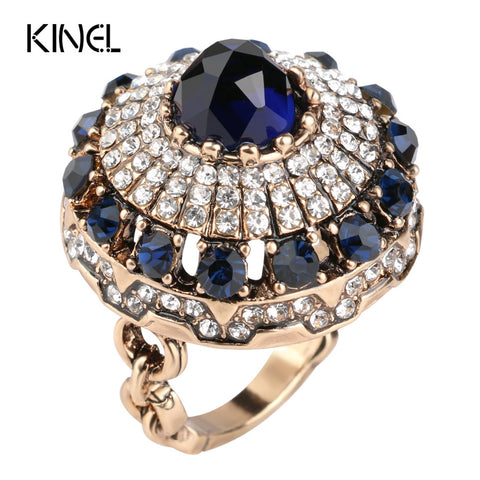 Hot Luxury Big Natural Stone Rings Vintage Crystal Antique Rings For Women Gold Color Party Christmas Gift Turkish Jewelry - CheckaBaby