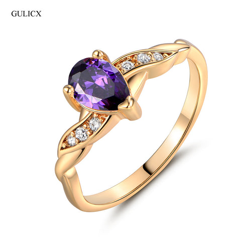 GULICX New Fashion Midi Rings for Women Gold-color Water Drop Purple Cubic Zircon Band Engagement Jewelry R106 - CheckaBaby