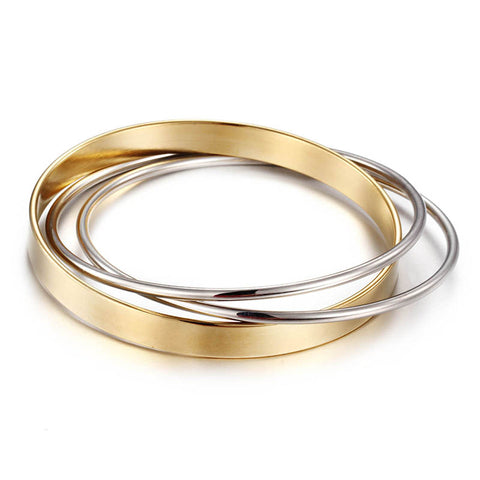 New Arrival 3 Circle Love Bangles for Women Fashion 2 Colors Rose Gold/ Gold-Color Stainless Steel Bracelet - CheckaBaby