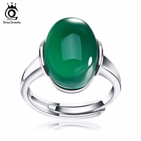 ORSA JEWELS Genuine 925 Silver Rings with Big Green/Red Natural Stone 2017 New Sterling Silver Couple Rings for Women Men SR24 - CheckaBaby