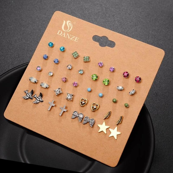 DANZE Punk 20 Pairs Set Brincos Mixed Stud, Crystal, Simulated Pearl Earrings Jewelry For Women - CheckaBaby