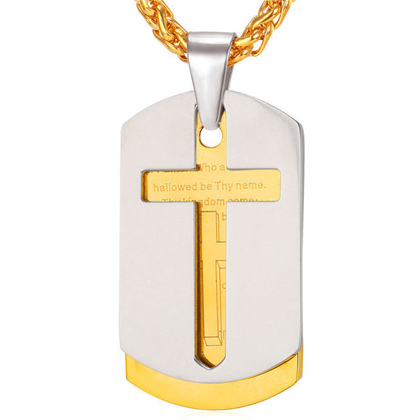 U7 Cross Necklaces & Pendants,  Christian Jewelry,  Bible Lords Prayer, Gold Color Stainless Steel, Christmas or any occasion Gift For Men - CheckaBaby