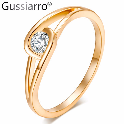 Gussiarro Big Promotion Exquisite Gold-Color Micro Inlay Clear AAA Round Cubic Zircon Couple Knuckle Rings for Woman Gift - CheckaBaby