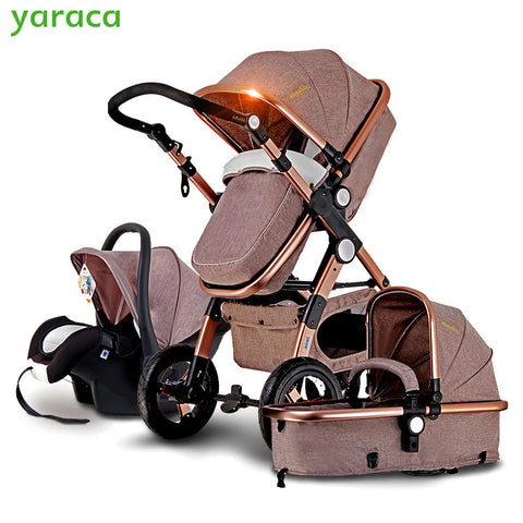 Baby Stroller 3 in 1 with Car Seat For Newborn High View Pram Folding Baby Carriage Travel System - CheckaBaby