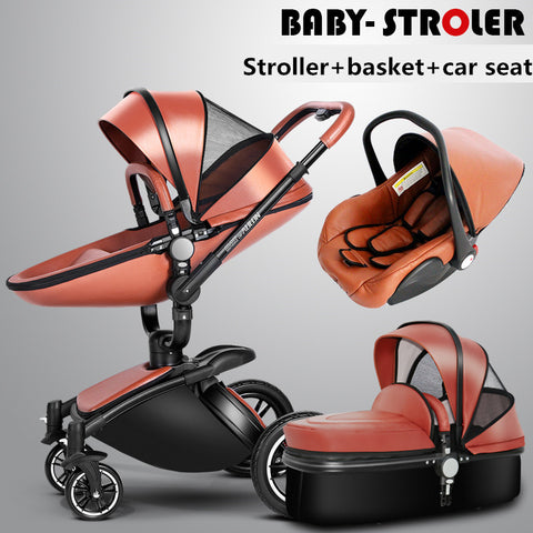 3 in 1 high quality 2 in 1 baby strollers Aulon recounts baby pram leather two-way shock absorbers baby car cart trolley pink - CheckaBaby