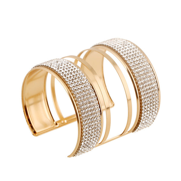 New Gold Color Cuff Wide Full Rhinestone Bangles Bracelets Women Fashion Alloy Metal bracelets & bangles Women Accessories - CheckaBaby