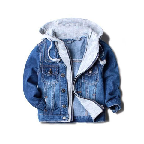 Handsome boy jackets hooded, baby boys denim jackets fashion outwear - CheckaBaby