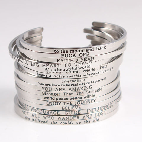 Newest Quotes Mantra Bracelets 316L Stainless Steel Open Cuff Bangles Fashion Women Inspirational Jewelry Bracelet - CheckaBaby