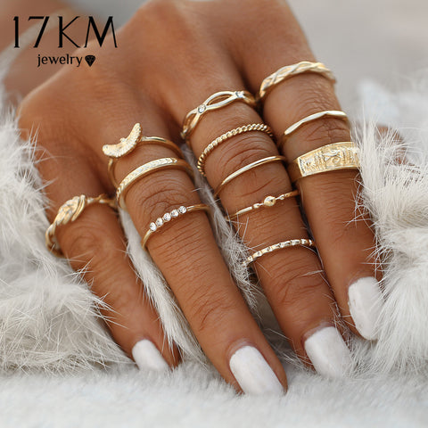 17KM 12 pc/set Charm Gold Color Midi Finger Ring Set for Women, Vintage Boho Knuckle Party Rings Punk Jewelry - CheckaBaby