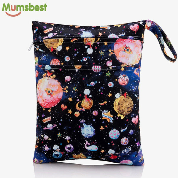 [Mumsbest] 2016 New Wet Bag Washable Reusable Cloth diaper Nappies Bags Waterproof Swim Sport Travel Carry bag Big Size:40X30cm - CheckaBaby