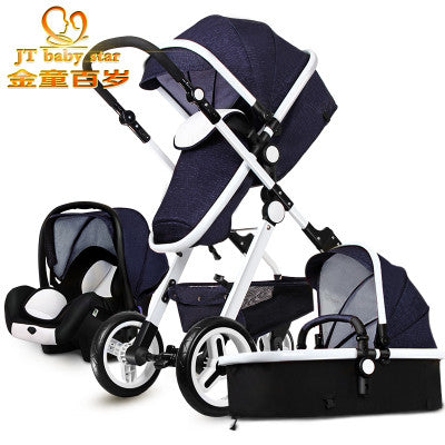 Baby Stroller BB carriage 3 in 1 Baby car High landscope Ultra light Convenience to travel - CheckaBaby
