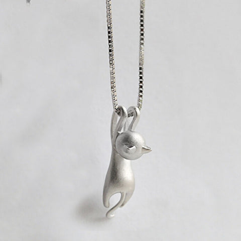 Hot Cute Silver Plated Tiny Cat Pendant Necklace for Women - CheckaBaby
