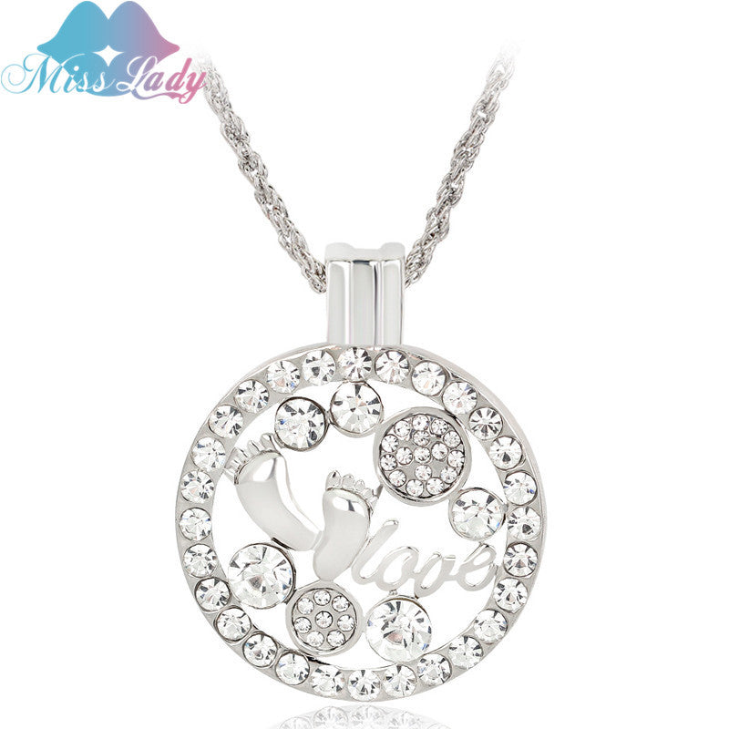 Gold color crystal round baby footprint necklace for women checkababy gold color crystal round baby footprint necklace for women checkababy aloadofball Choice Image
