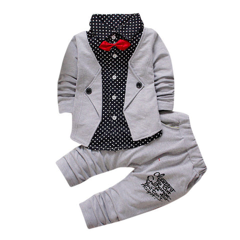 Gentry Clothes Set Baby Boy  Christening, Wedding Formal Party Tuxedo Bow Suit - CheckaBaby