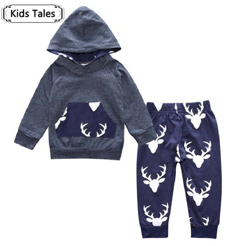 Baby Boys Clothes Set Suits Warm Deer Tops Hoodie T-shirt + Leggings Pants Cute Animals Printed  Children's Clothing - CheckaBaby