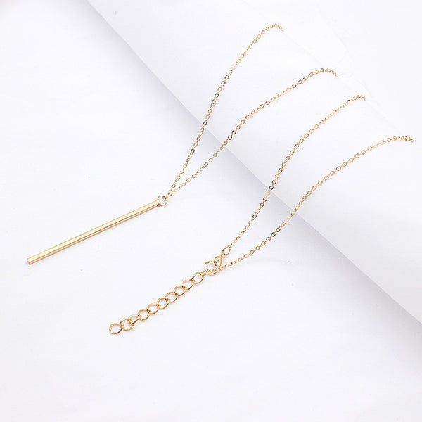 Stick Hollow Pendant, Long Link Chain Square Copper Necklace Jewelry for Women - CheckaBaby