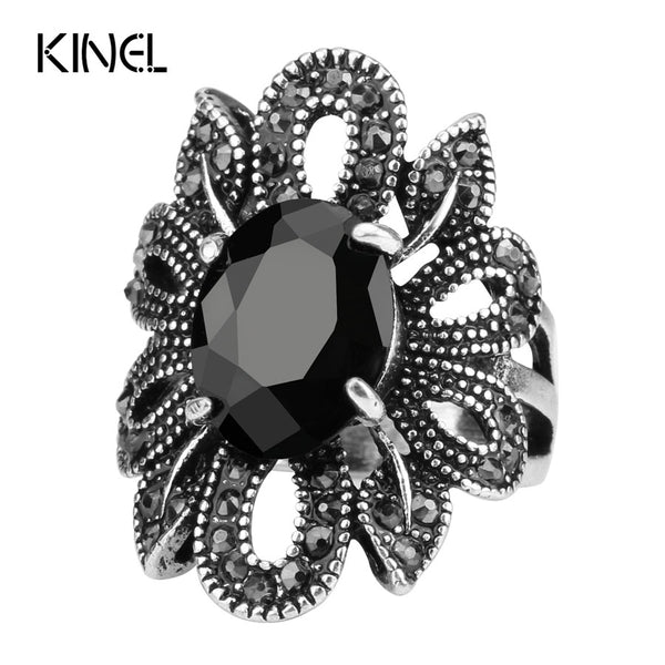 Punk Rock Rings Jewelry Silver Color Ancient Ways Black Stones Hollow Out Female Personality Hipster Index Finger Rings - CheckaBaby