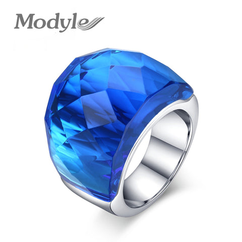 Modyle New Fashion Large Rings for Women Wedding Jewelry Big Crystal Stone Ring Stainless Steel - CheckaBaby