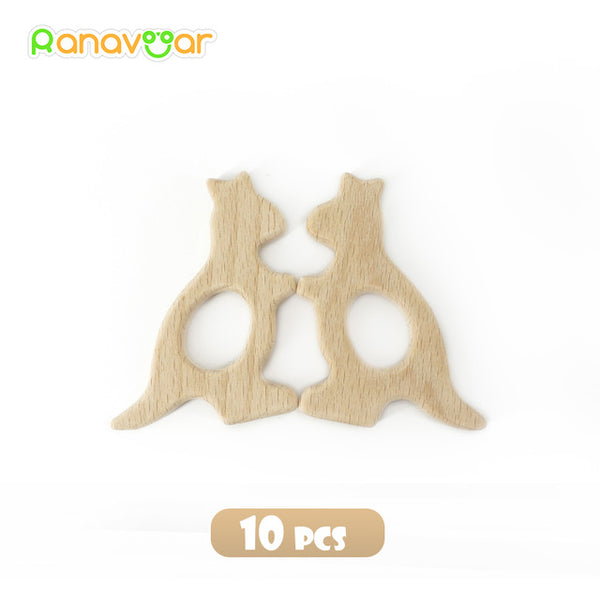 Ranavoar New Wooden Teethers 10pcs/5pcs, Natural Baby Teething Toy, Organic Eco-friendly Wood Teething Holder, Nursing Baby Teether - CheckaBaby