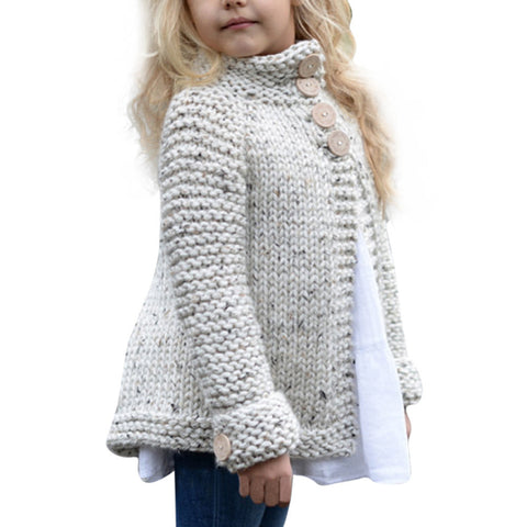 Girls Sweater Toddler Kids Baby Girls Outfit Clothes Button Knitted Sweater Cardigan Coat Tops - CheckaBaby