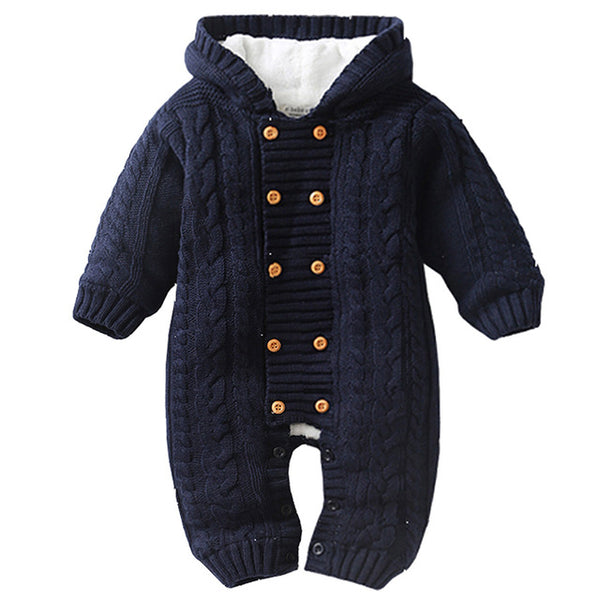 IYEAL Thick Warm Infant Baby Rompers, Winter Clothes for Newborn Baby Boy or  Girl  - Knitted Sweater Jumpsuit Hooded Outerwear - CheckaBaby