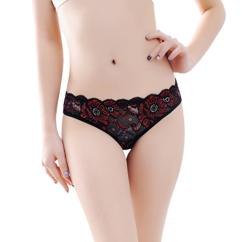 Low-Rise Women Sexy Lace Lady Panties Seamless Breathable Panty Hollow Briefs BK - CheckaBaby