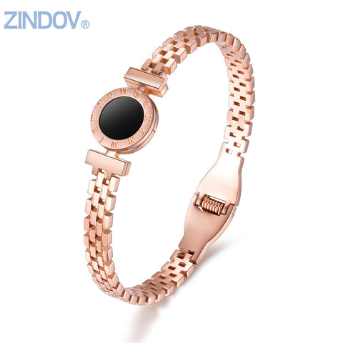 New Women Bangles Bracelets Stainless Steel Rose Gold Silver Black Fashion Brand Costume Jewelry Bracelets For Women Gold - CheckaBaby