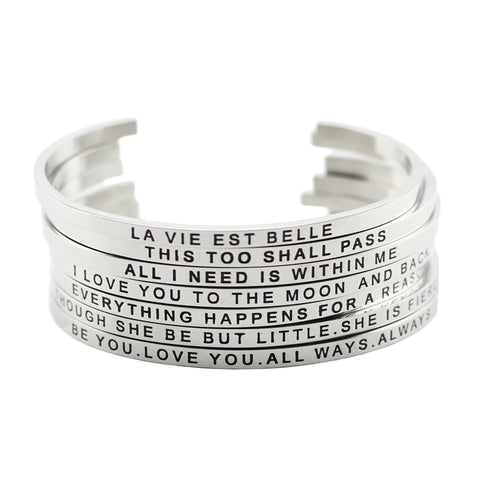 Hot 316L Stainless Steel Bangles Positive Inspirational Quote Cuff bracelets Mantra Bracelets Bangles for women - CheckaBaby