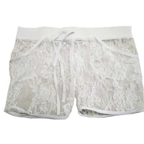 Women Comfortable Hollow Flower Lace Boyshort Panties