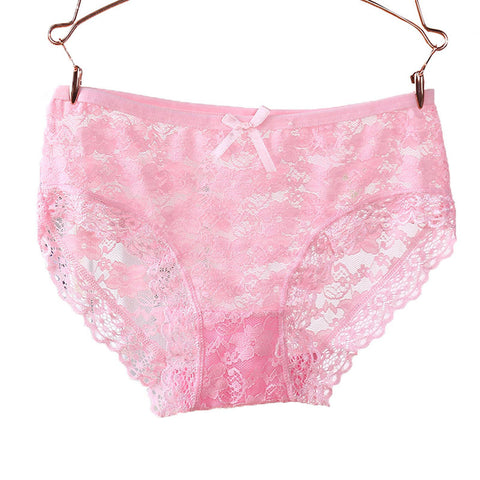 Womens Sexy Panties Lace Floral Underwear with Bowknot Breathable Hollow Panty