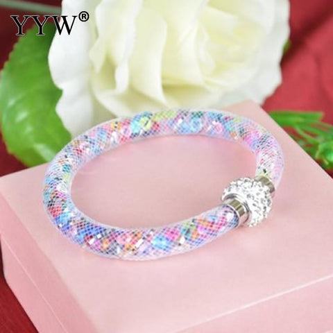 YYW Women Jewelry Accessories Net Mesh Cord Round Tube Bracelet Crystal Rhinestone Filled Wrap Bangles Wristband Bracelets - CheckaBaby