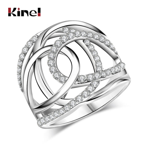 Fashion Wedding Rings For Women Silver Color White Czech Drill Double C Lines Cross Brand Clothing Accessories Jewelry - CheckaBaby