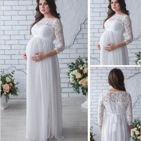 OkayMom Maternity Dress  White Long Lace Evening Party Dresses - CheckaBaby