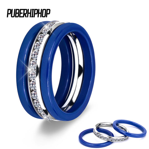3pcs/Set 2017 Hot Blue Ceramic Rings Stainless Steel Ceramic Three Lines Wedding Rings With Crystal Accessories Zircon Jewelry - CheckaBaby