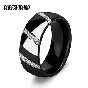 New Engagement Rings For Women 3 Row Lines Clear Crystal Jewelry Fashion Stainless Steel Ceramic Rings Brand Design - CheckaBaby