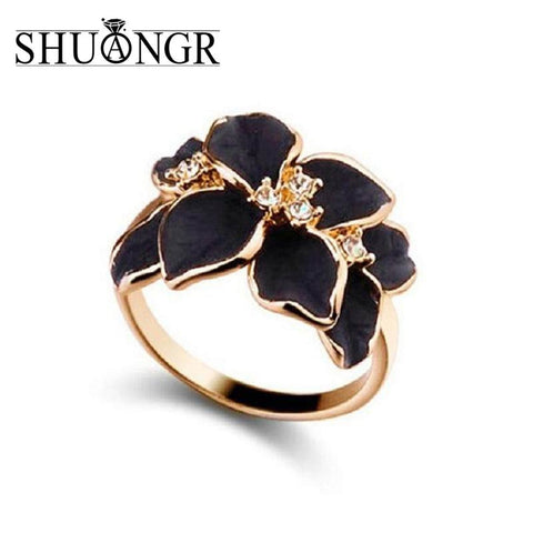SHUANGR Hot Sale Jewelry Rings With Gold Color Austrian Crystal Black&White Color Enamel Flower Wedding Rings For Women - CheckaBaby