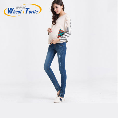 Maternity Jeans Skinny Good Quality Cotton Distressed Blue Slim Pencil Jeans - CheckaBaby