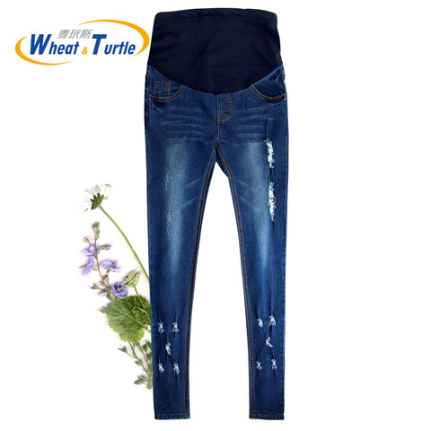 2018 Hot Sale Good Quality Cotton Denim Skinny Maternity Jeans Holes Contrast Stitching Pockets Pencil Jeans - CheckaBaby