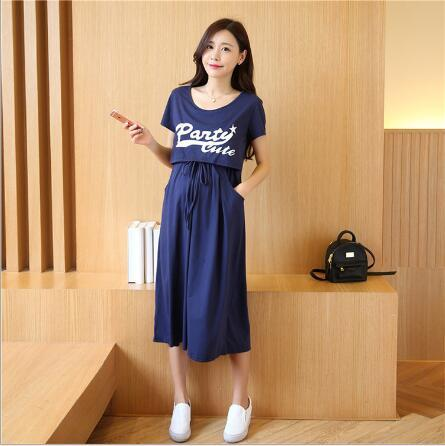 Envsoll Maternity Dress Breastfeeding Two-piece Suit Short-sleeved  Long Korean Skirt - CheckaBaby