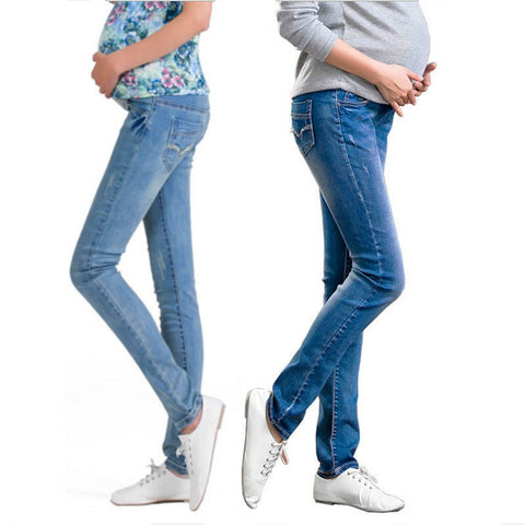 Elastic Waist Maternity Jeans - CheckaBaby