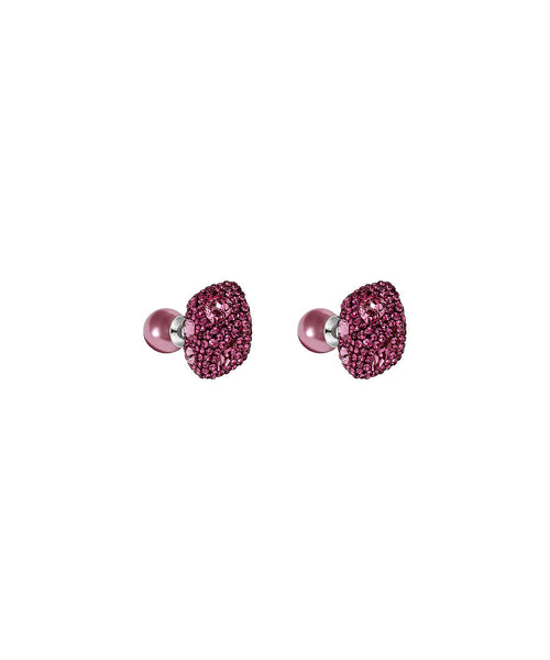 Made with Swarovski Crystal Double Stud Earring - Pink - CheckaBaby