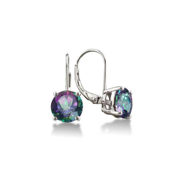 Made with Swarovski Crystal Mystic Topaz Leverback Earring - CheckaBaby