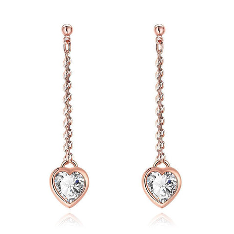 Heart Drop White Topaz Stud Earrings - CheckaBaby