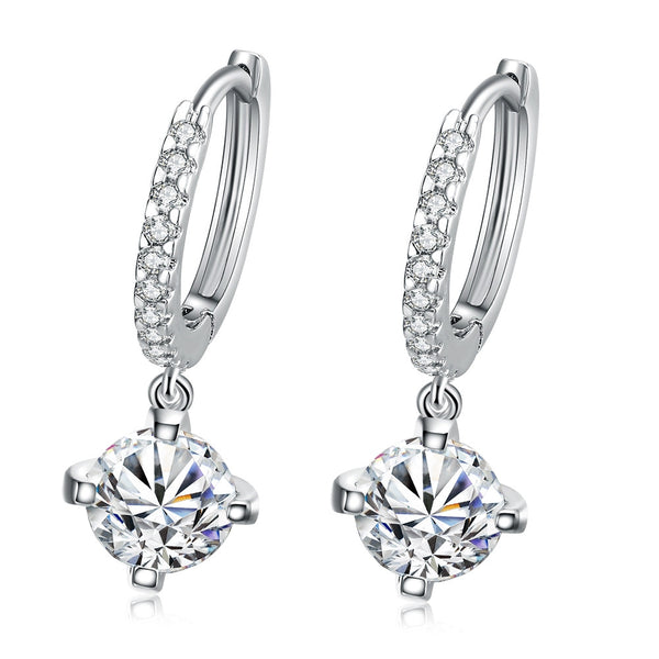 18K White Gold Plated Classic Drop Earring - CheckaBaby