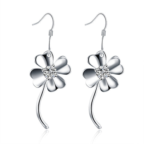 18K White Gold Plated Curved Clover Earring - CheckaBaby